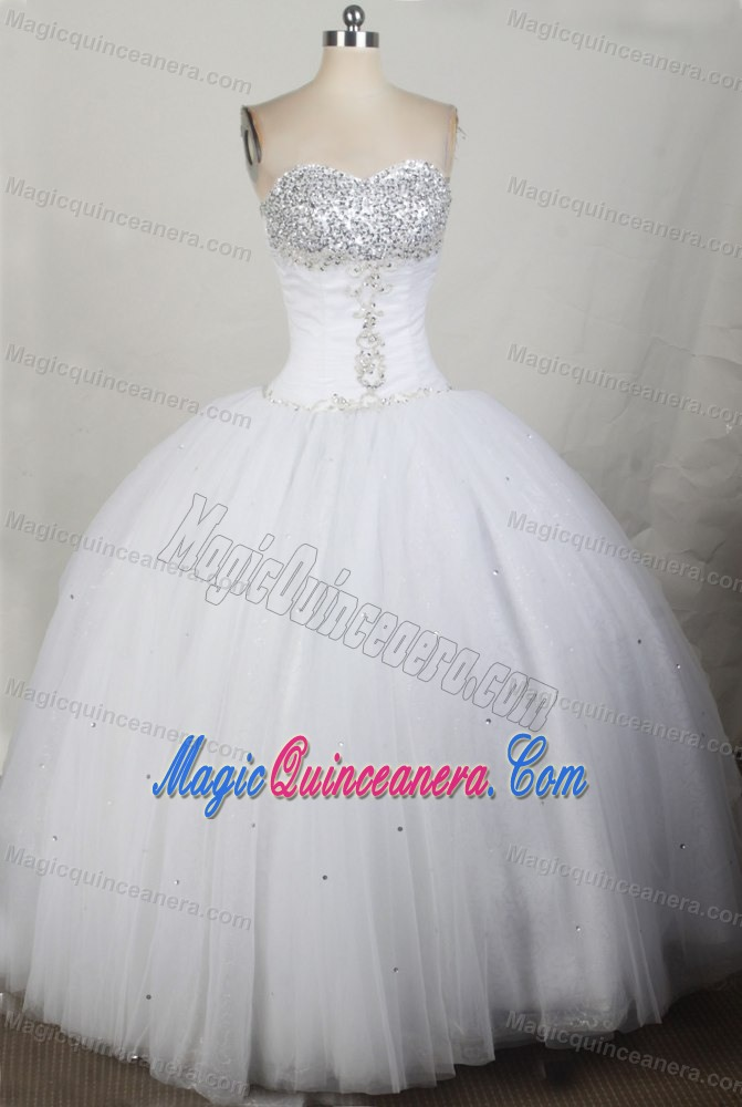 Beading Ball Gown Sweetheart Quinceanera Dress in White at Ica ...