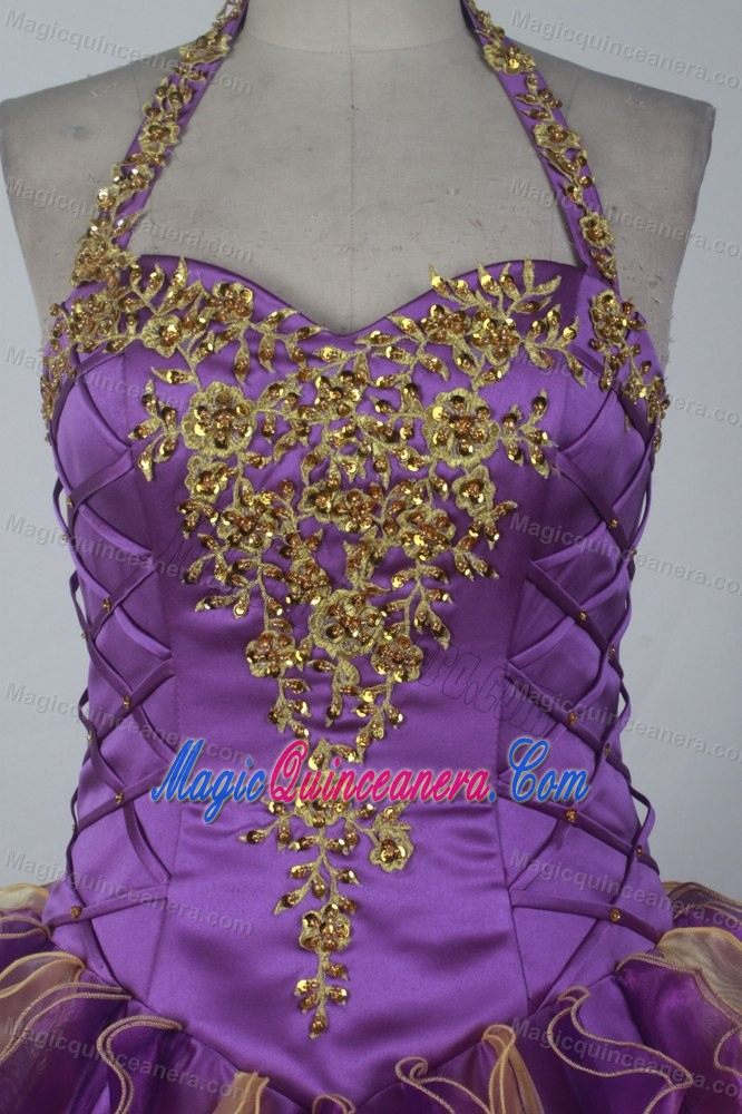 Halter Top Sweetheart Beading Quinceanera Gown in Purple and Gold