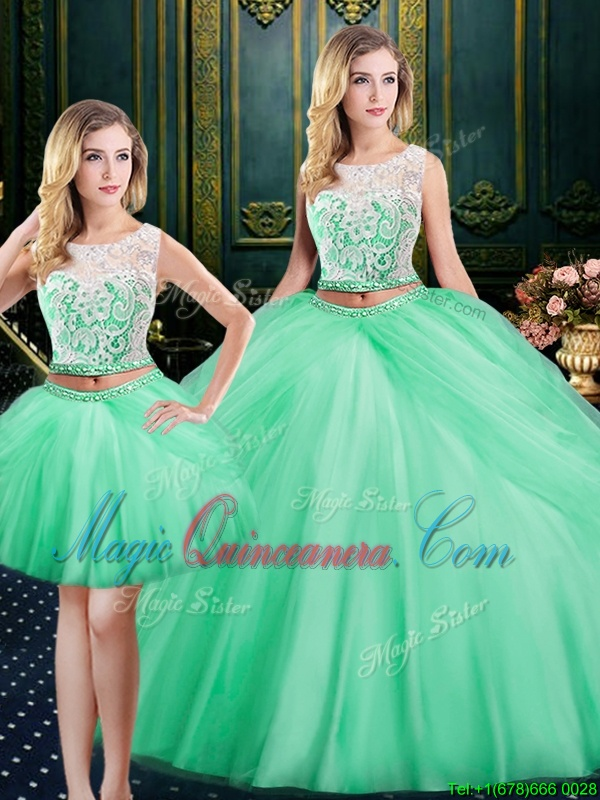 Three Piece Scoop Sleeveless Quinceanera Dress Floor Length Lace and Pick Ups Apple Green Satin and Tulle