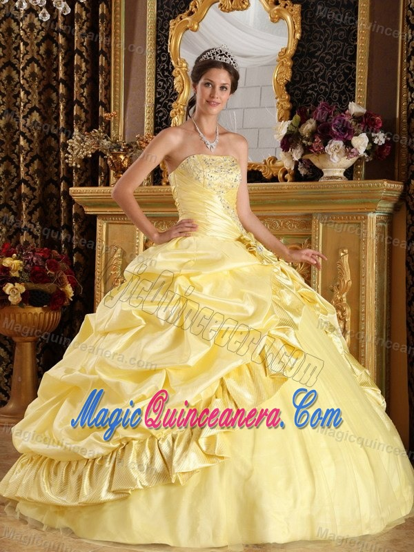 Yellow Ball Gown Strapless Quinceanera Dress with Beading Pick ups ...