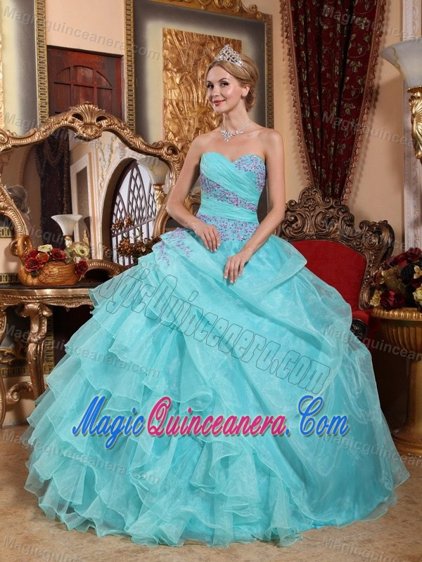 Appliques and Ruffles Accent Quinceanera Gown Dress in Mint Color ...