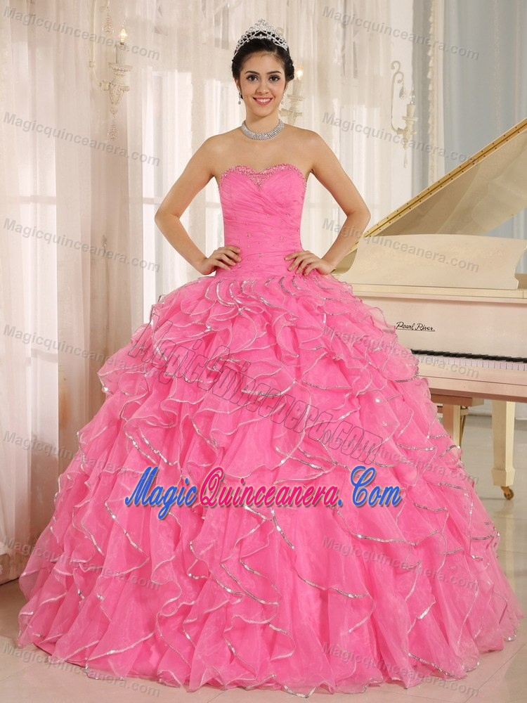 Frilly Ruffles Beading Organza Sweet Sixteen Dresses in Rose Pink ...
