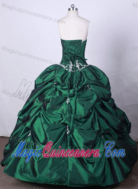Pick Ups Beading Strapless Green Ball Gown Dresses for a Quinces