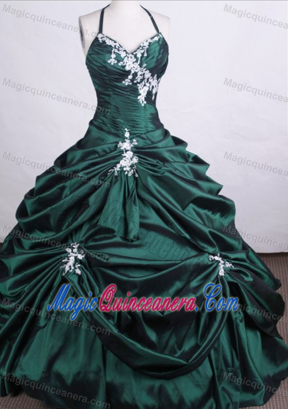 Halter Taffeta Quinceanera Dresses with Pick-ups and Beading in ...