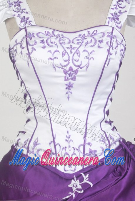 Purple And White Wedding Dresses With Sleeves : White and purple cap sleeves square neckline sweet