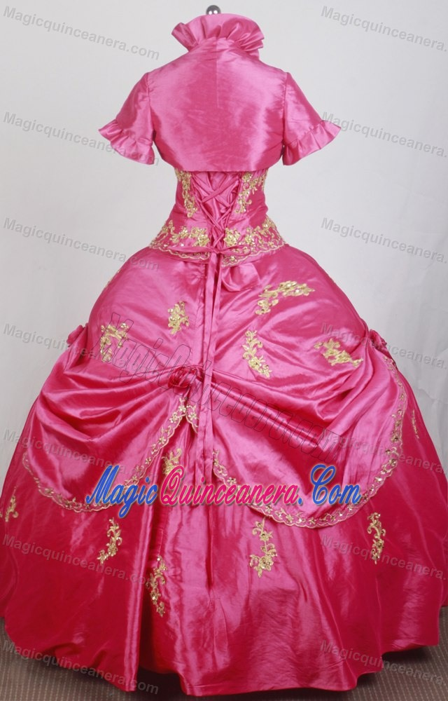 Matching Jacket with High Neck for Quince Dress with Gold Appliques