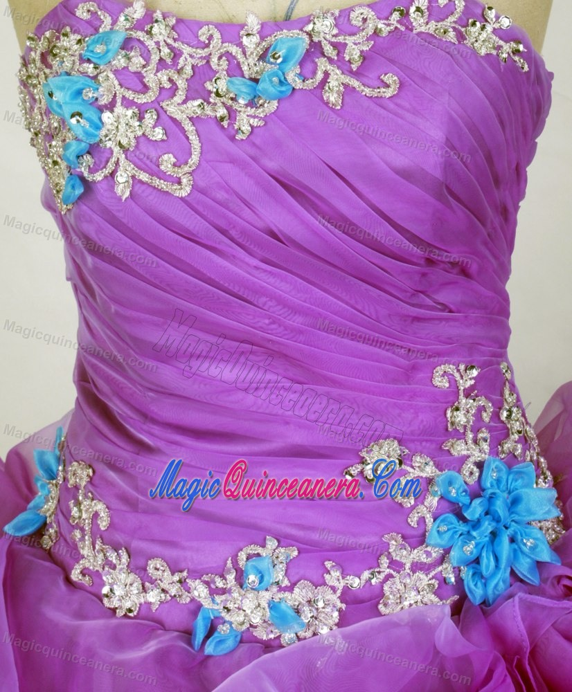 Sweetheart Appliqued 2014 Purple and Blue Quinceanera Gown - Magic ...
