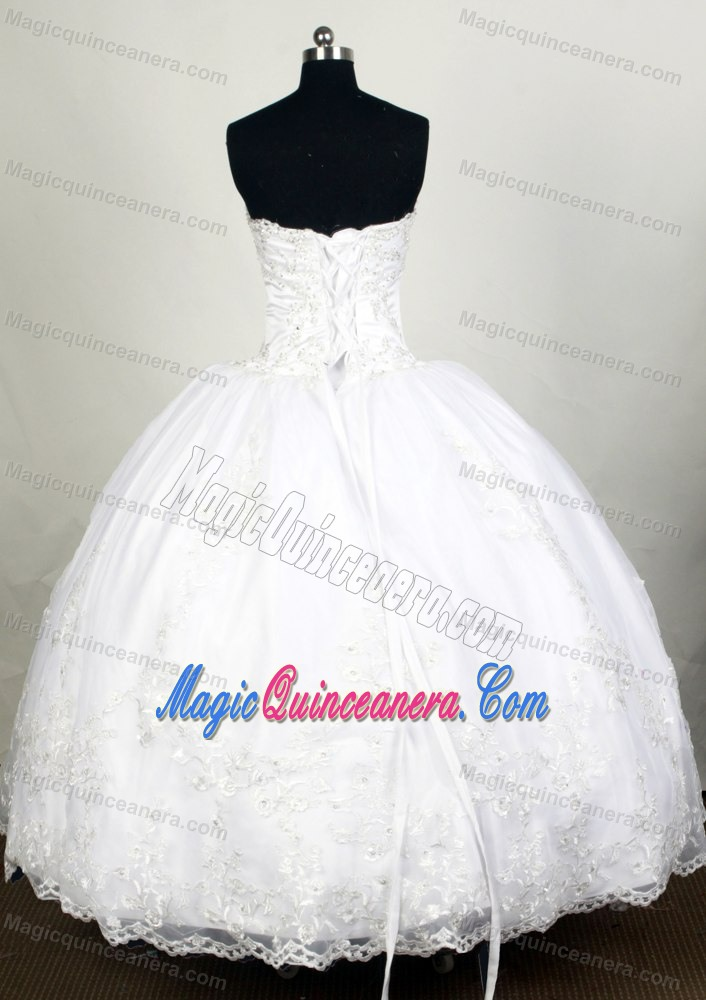 Modest 2014 White Sweet 16 Dress with Exquisite Appliques - Magic ...