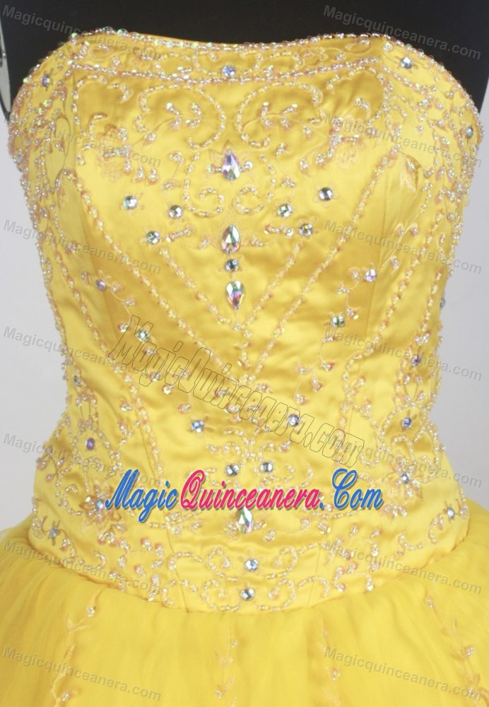 Modest Bright Yellow Quinceanera Ball Gown for sale in California
