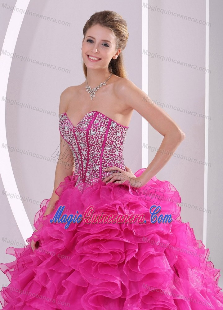 beaded bodice sweetheart sweet sixteen dresses in hot pink