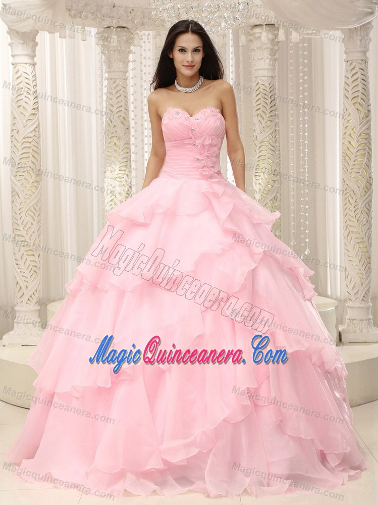 Beading and Ruffled Layers Accent Baby Pink Sweet Sixteen Dresses ...