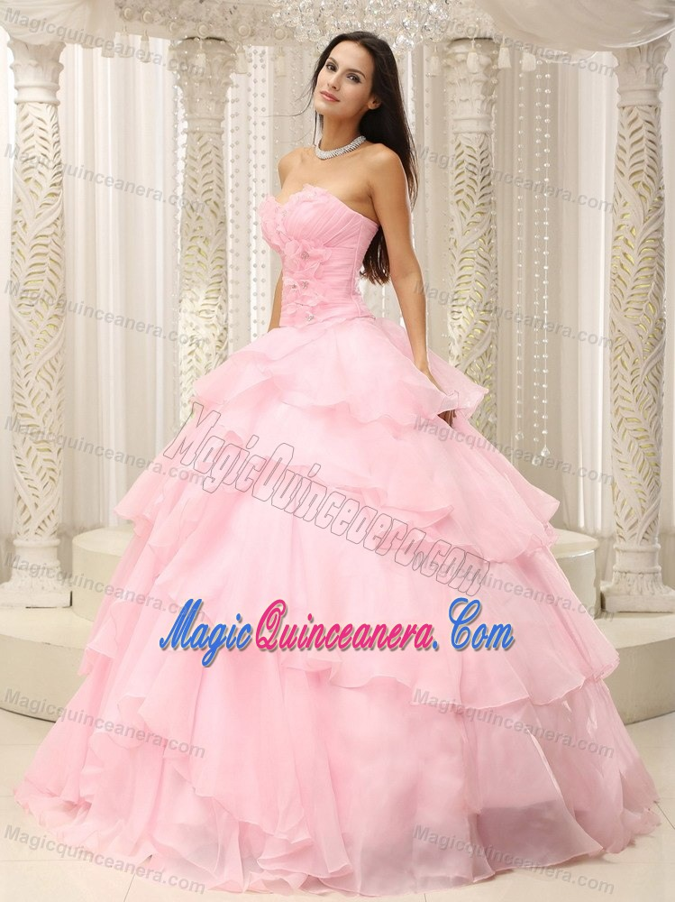 Beading And Ruffled Layers Accent Baby Pink Sweet Sixteen