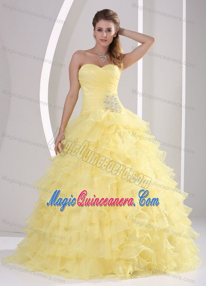 a599c213ed9 Ruched Light Yellow Sweet 15 Dresses with Beading and Ruffled Layers ...