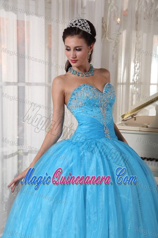 e0565659978 Beaded Bodice Sweetheart Organza Sweet 15 Dresses in Baby Blue ...