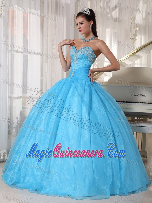Beaded Bodice Sweetheart Organza Sweet 15 Dresses in Baby Blue ...