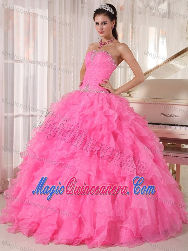 Beading and Ruffles Accent Sweet 15 Dresses in Hot Pink on Sale ...