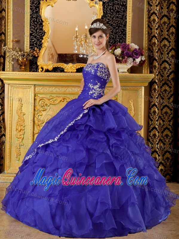 Appliqued and Ruffled Royal Blue Quinceanera Gown Dresses 2014 ...