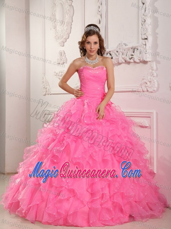 Beading and Puffy Ruffles Accent Quinceanera Gown Dress in Rose ...