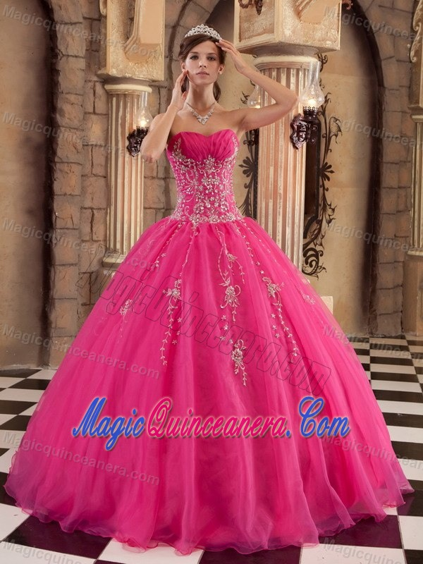 Hot Pink Strapless Beaded Organza Sweet 15 Dresses in Farnborough