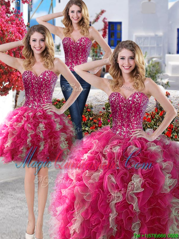 Exceptional Three Piece Hot Pink Lace Up 15 Quinceanera Dress Beading Sleeveless Floor Length