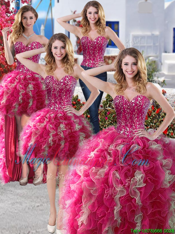 Four Piece Ball Gowns Sweet 16 Quinceanera Dress Hot Pink Sweetheart Organza Sleeveless Floor Length Lace Up