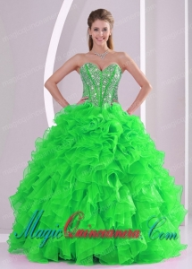 A Ball Gown Sweetheart Ruffles and Beading Organza Classic Quinceanera Gowns in Sweet 16