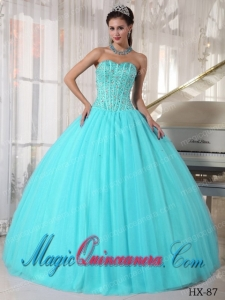 Aqua Blue Ball Gown Sweetheart Floor-length Tulle Beading Cute Quinceanera Dress