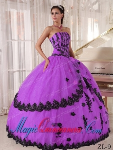 Ball Gown Strapless Floor-length Appliques Cute Quinceanea Dress