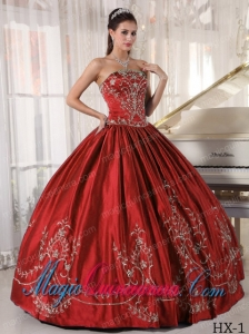 Beautiful Ball Gown Strapless Floor-length Satin Embroidery Quinceanera Dress