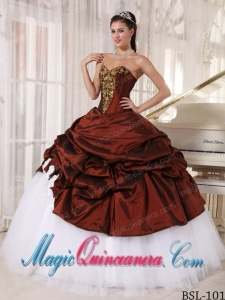Beautiful Ball Gown Sweetheart Burgundy and white Floor-length Appliques Quinceanera Dress