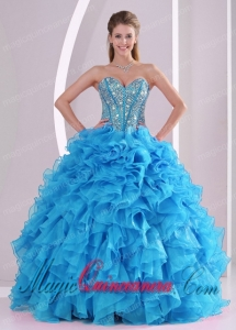 Blue Sweetheart Organza 2014 Spring Quinceanera Gowns with Fitted Waist
