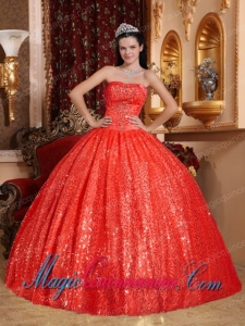 Classic Quinceanera Gowns In Red Ball Gown With Sweetheart Floor-length Beading