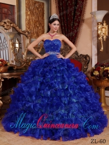 Classic Quinceanera Gowns In Royal Blue Ball Gown Sweetheart Floor-length Organza Beading
