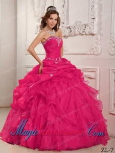Coral Red Ball Gown Strapless Floor-length Organza Beading And Ruffles Cute Quinceanera Dress