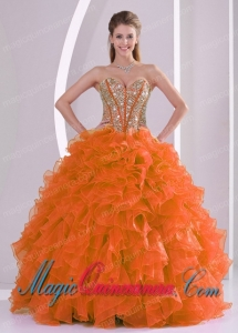 Elegant Ball Gown Sweetheart Ruffles and Beaded Decorate Cute Quinceanera Dress