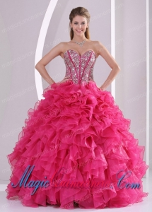 Elegant Hot Pink Ball Gown Sweetheart Long Organza Quinceanera Gowns with Ruffles and Beading