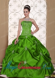 Embroidery Taffeta Strapless Modest Best Quinceanera Dress with Pick-ups