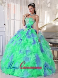 Green and Blue Sweetehart Ruffles and Appliques Cute Quinceanera Dress