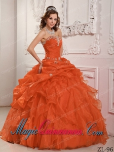 Orange Red Ball Gown Strapless Beading And Ruffles Classic Quinceanera Gowns