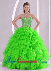 Popular Ball Gown Sweetheart Best Quinceanera Gowns with Beading and Ruffles