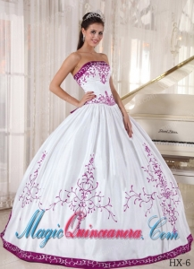 Strapless White and Fuchsia Floor-length Embroidery Cute Quinceanera Dress