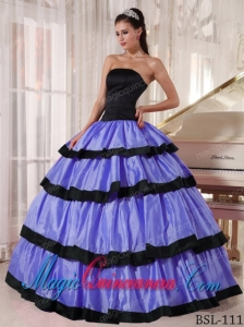 2014 Beautiful Ball Gown Strapless Floor-length Taffeta Quinceanera Dress in Purple and Black