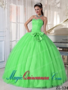 2014 Spring Green Ball Gown Sweetheart Floor-length Tulle Beading and Bowknot Quinceanera Dress