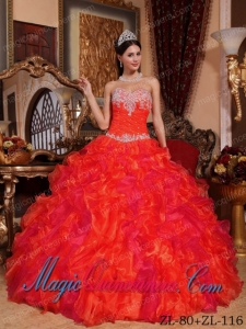 A Hot Pink Ball Gown Sweetheart With Appliques and Beading Classic Quinceanera Gowns