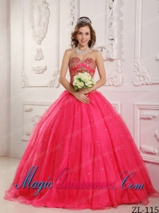 A Hot Pink Sweetheart Floor-length Satin and Organza Beading Classic Quinceanera Gowns