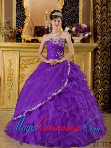 An Eggplant Purple Ball Gown Strapless Floor-length Organza Appliques Bule Classic Quinceanera Gowns