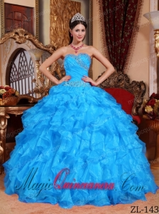 Aqua Blue Ball Gown Sweetheart Floor-length Organza Beading Cute Quinceanera Dress