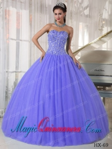 Ball Gown Sweetheart Lilac Tulle Cheap Quinceanera Dress with Beading