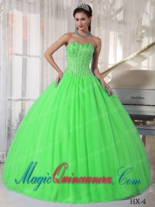 Ball Gown Sweetheart Tulle Beading Best Quinceanera Dress in Spring Green