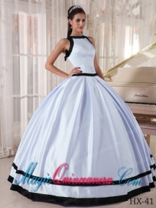Bateau Cheap Ball Gown Lavender and Black Satin Quinceanera Dress